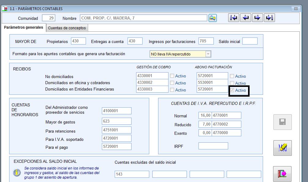 pantalla de parámetros gesfincas versión anterior