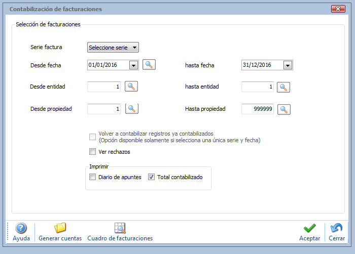 pantalla de facturación gesfincas.net